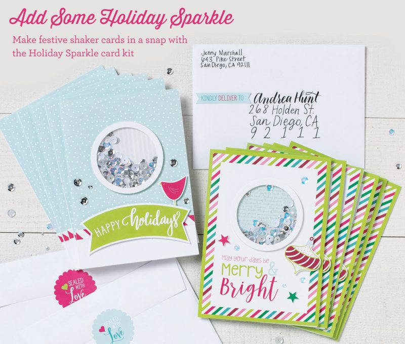 Holiday Sparkle Shaker Cards available October, 2018