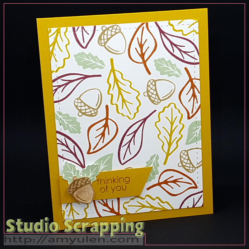 Stamping Techniques Blog Hop--Thinking of You card created by random stamping a background in colorful leaves and acorns