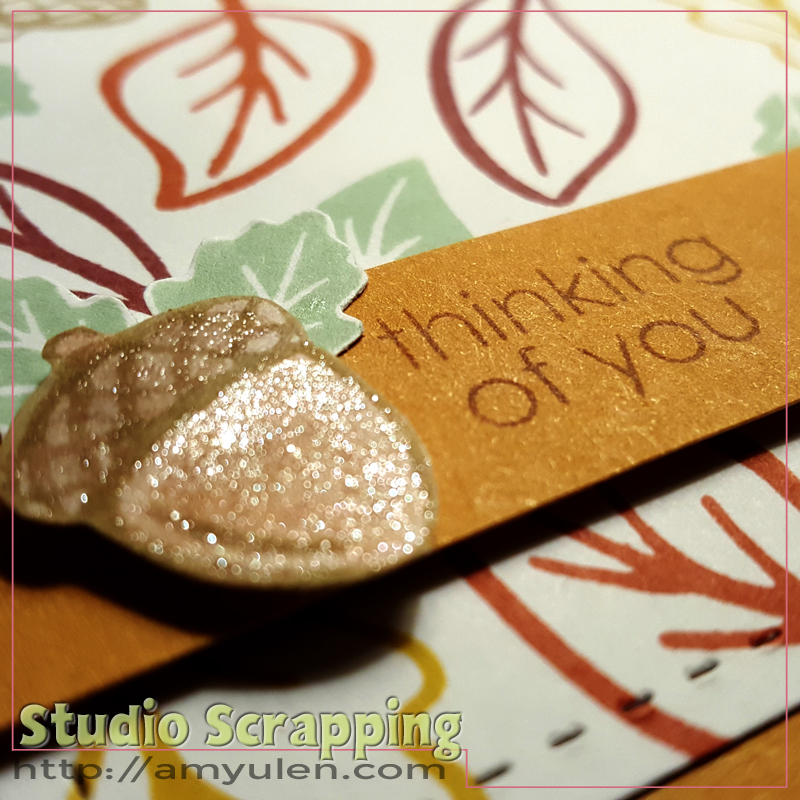 Stamping Techniques Blog Hop--close up of an acorn covered in shimmer brush