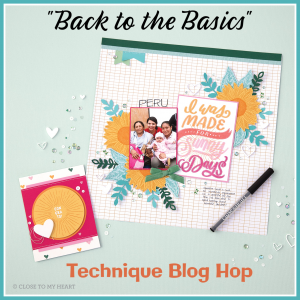Back to Basics Stamping Techniques Blog Hop logo with a photo of a layout and card
